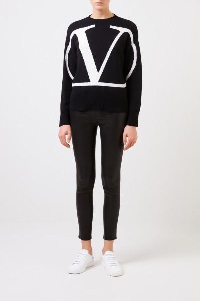 Cashmere-Pullover 'V' Schwarz/Weiß