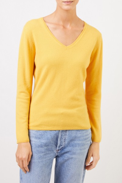 Uzwei Cashmere pullover with v-neck Yellow
