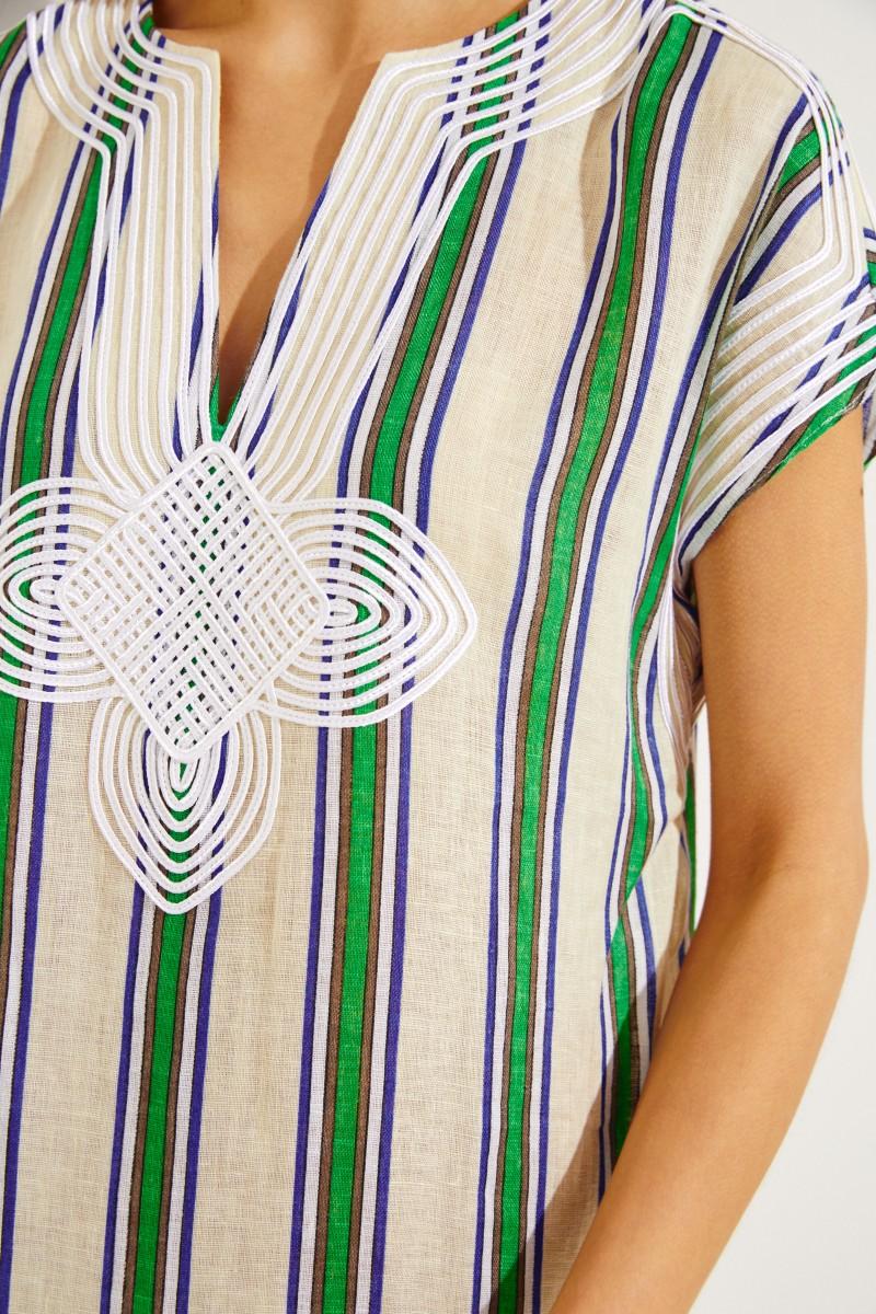 Gestreiftes Leinenkleid mit Stickerei Grün/Multi