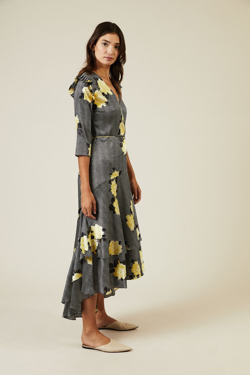 Wickel-Seidenkleid mit Blumenprint Multi