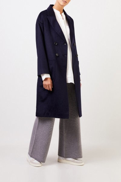 Uzwei Cashmere coat with binding detail Navy Blue
