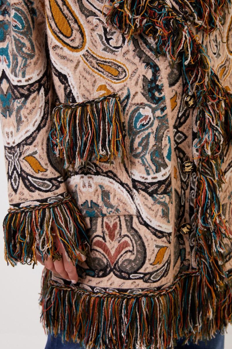 Etro Mantel mit Paisleymuster und Fransen Beige/Multi