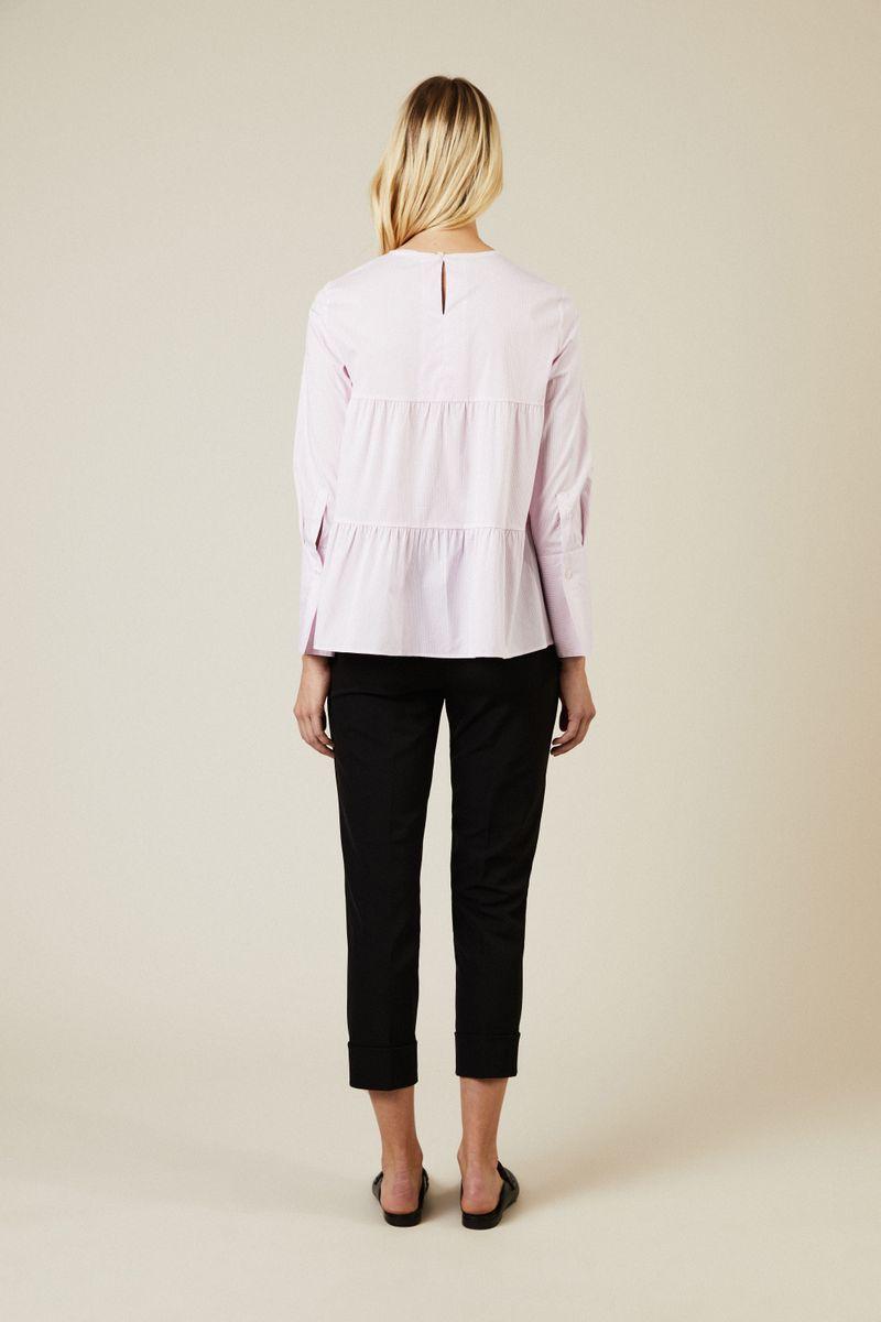 Gestreifte Baumwoll-Bluse Rosé