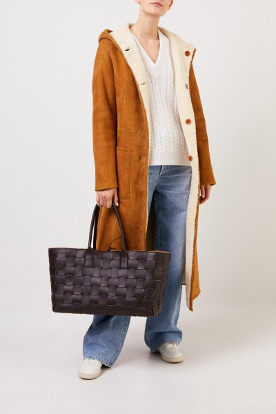 Bottega Veneta Woven lam leather shopper Dark Brown
