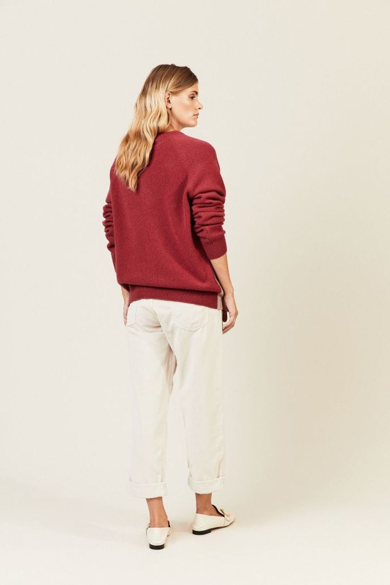 Cashmere-Pulllover mit Muster Rot/Multi
