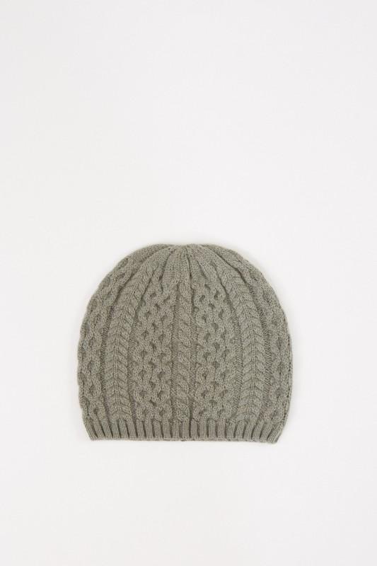 Cashmere-Mütze mit Zopfmuster Salbei