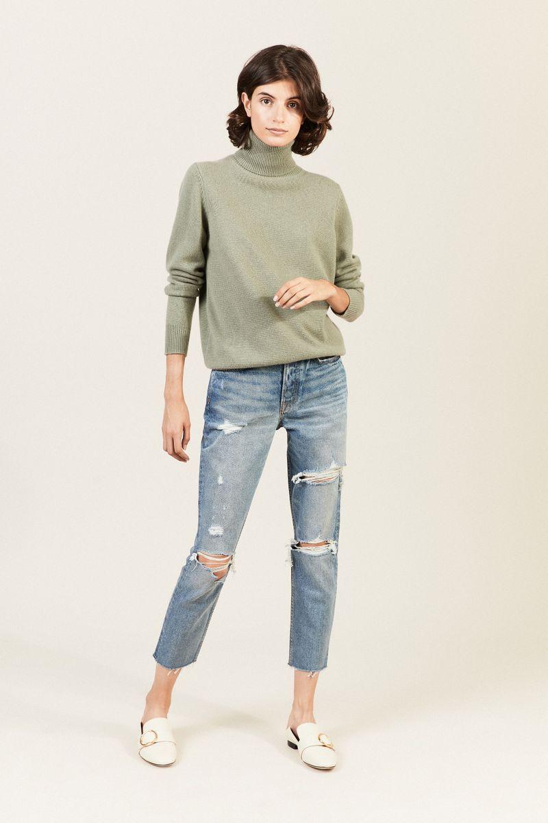 Destroyed High-Rise-Jeans 'Karolina' Blau