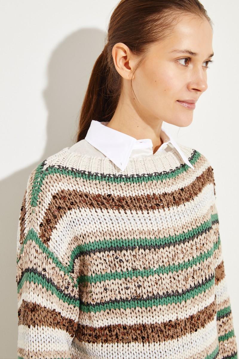 Gestreifter Baumwoll-Pullover Multi