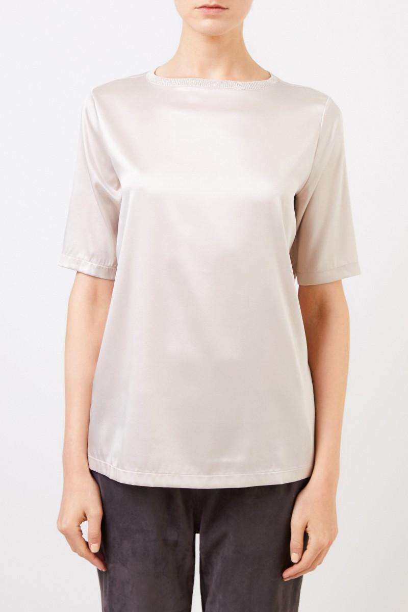 Seiden-Shirt mit Strickkragen Beige