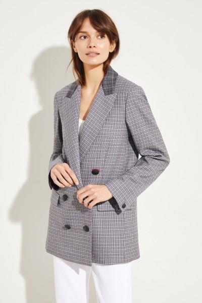Wool-Blazer 'Ellie' with glencheck Grey/Blue