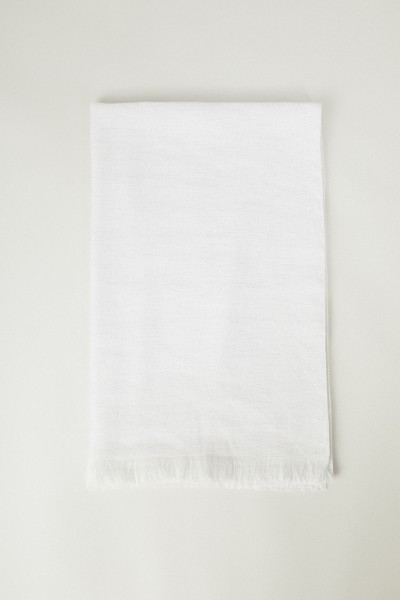 Leinen-Cashmere-Schal mit Lurexdetails Weiß