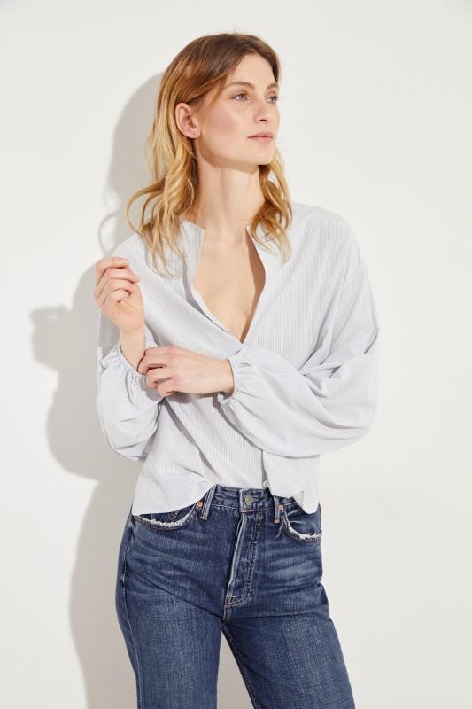 c8a1a45988cd0 Striped silk blouse Blue White