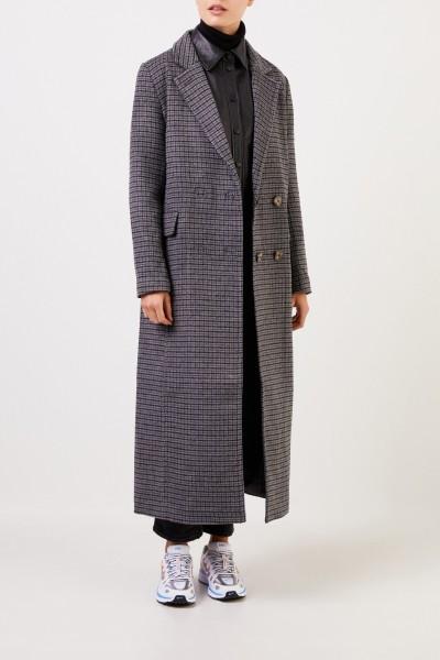 Ganni Langer Woll-Mantel mit Glencheck Grau/Multi