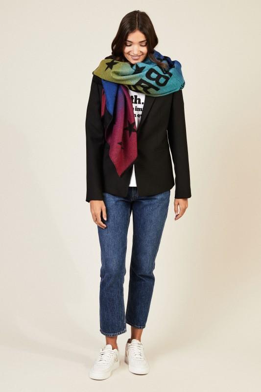 Woll-Schal mit Logo-Schriftzug Multi