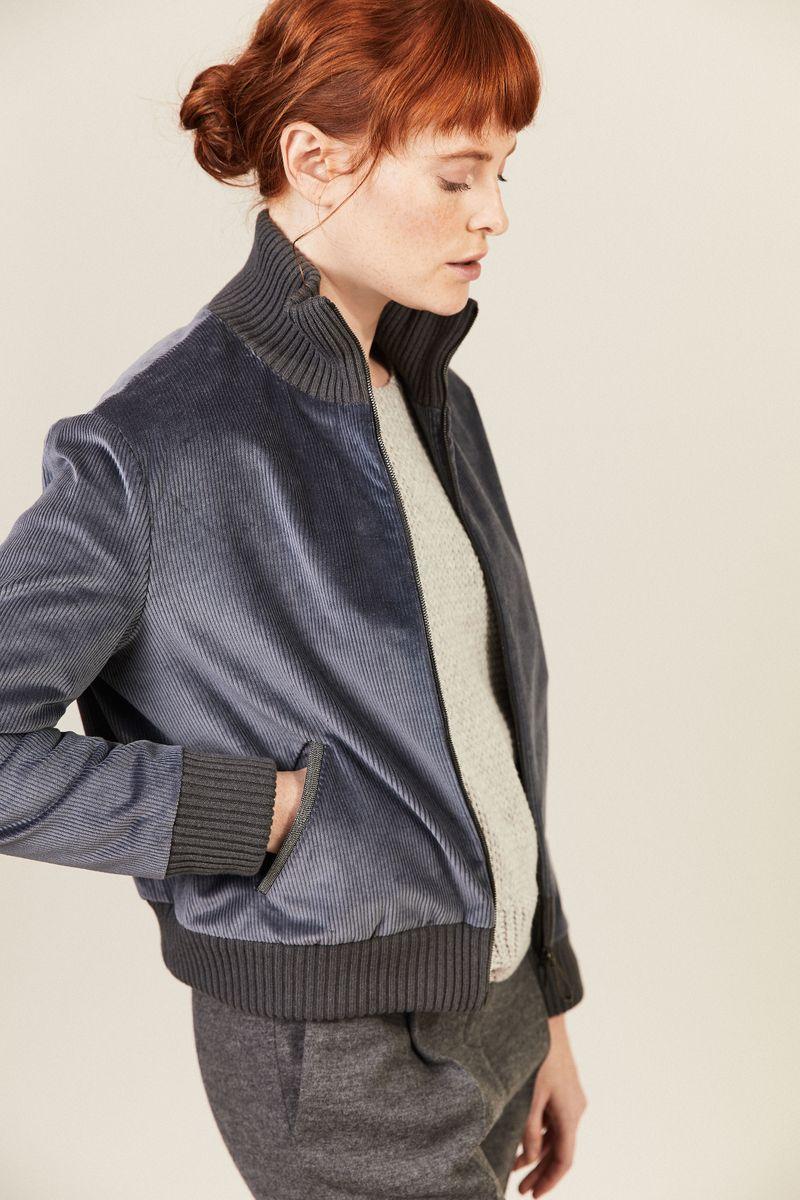 Cord-Jacke mit Strickdetails Blau