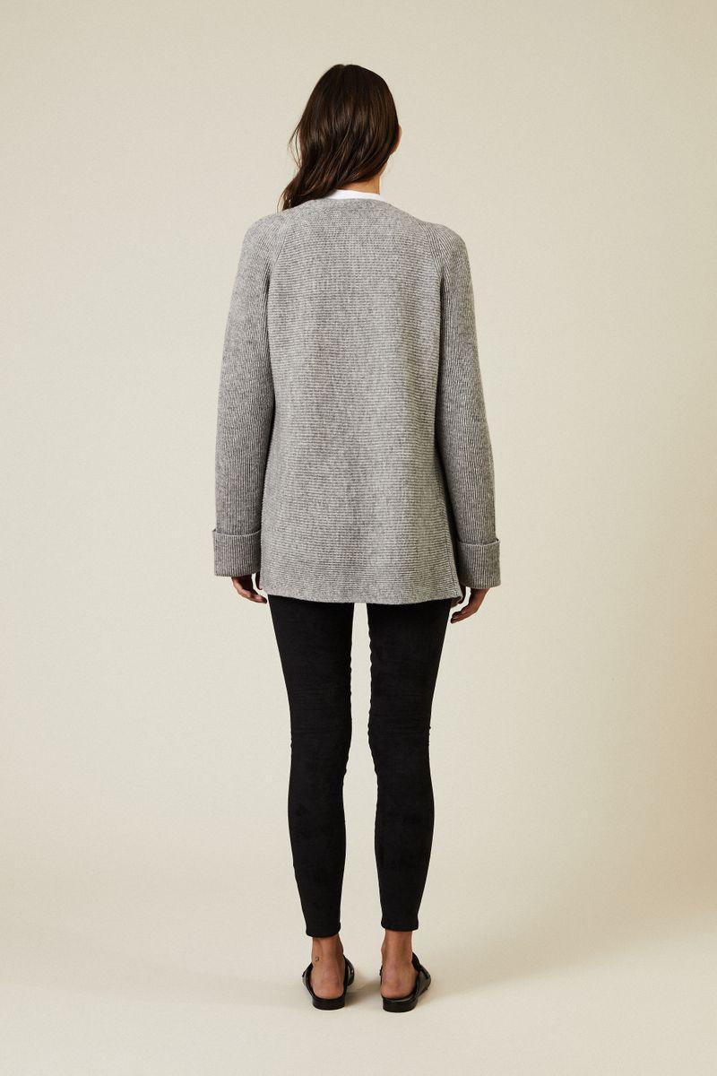 Woll-Cashmere Cardigan Grau