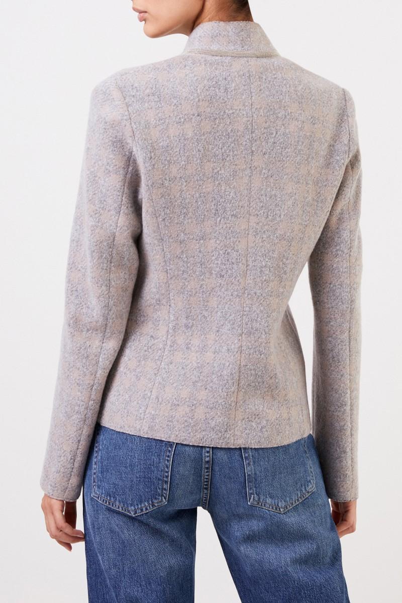 Fabiana Filippi Woll-Blazer mit Perlenverzierung Beige/Grau
