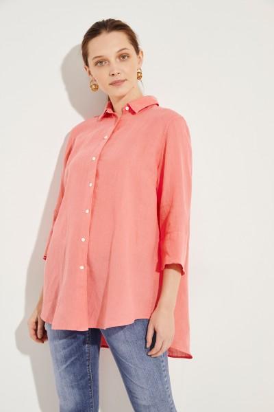 Leinen-Bluse mit verkürzten Ärmeln Orange