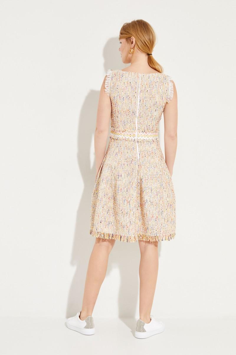 Tweed-Kleid mit Gürteldetail Gelb/Multi