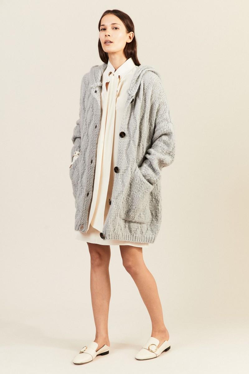 Mohair-Woll-Cardigan mit Kapuze Grau