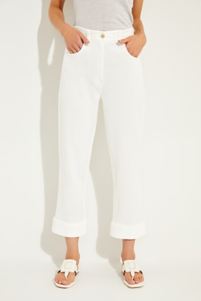 Linen cotton sweatpants White