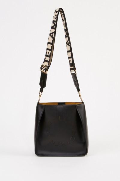 Mini shoulder bag with logo strap Black