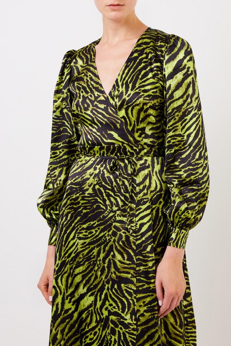 Seiden-Wickelkleid mit Tigerprint Multi