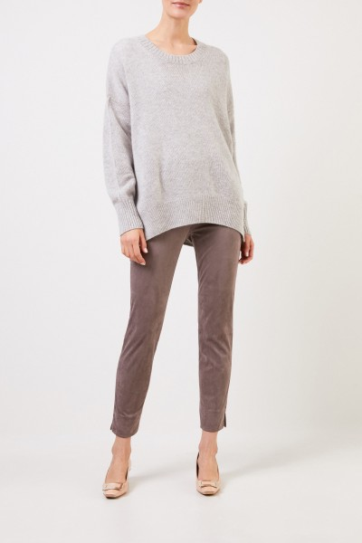 Imitation leather trousers 'Sabrina' in suede taupe look