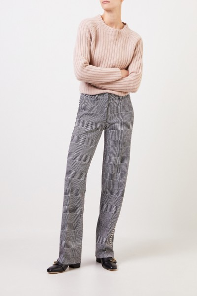 Cambio Wool trousers 'Malice' with glencheck Black/White