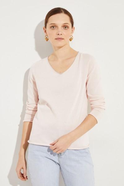 Pullover mit Lurexdetails Rosé