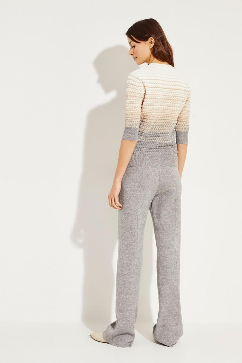 Strukturiertes Strick-Shirt Grau/Beige