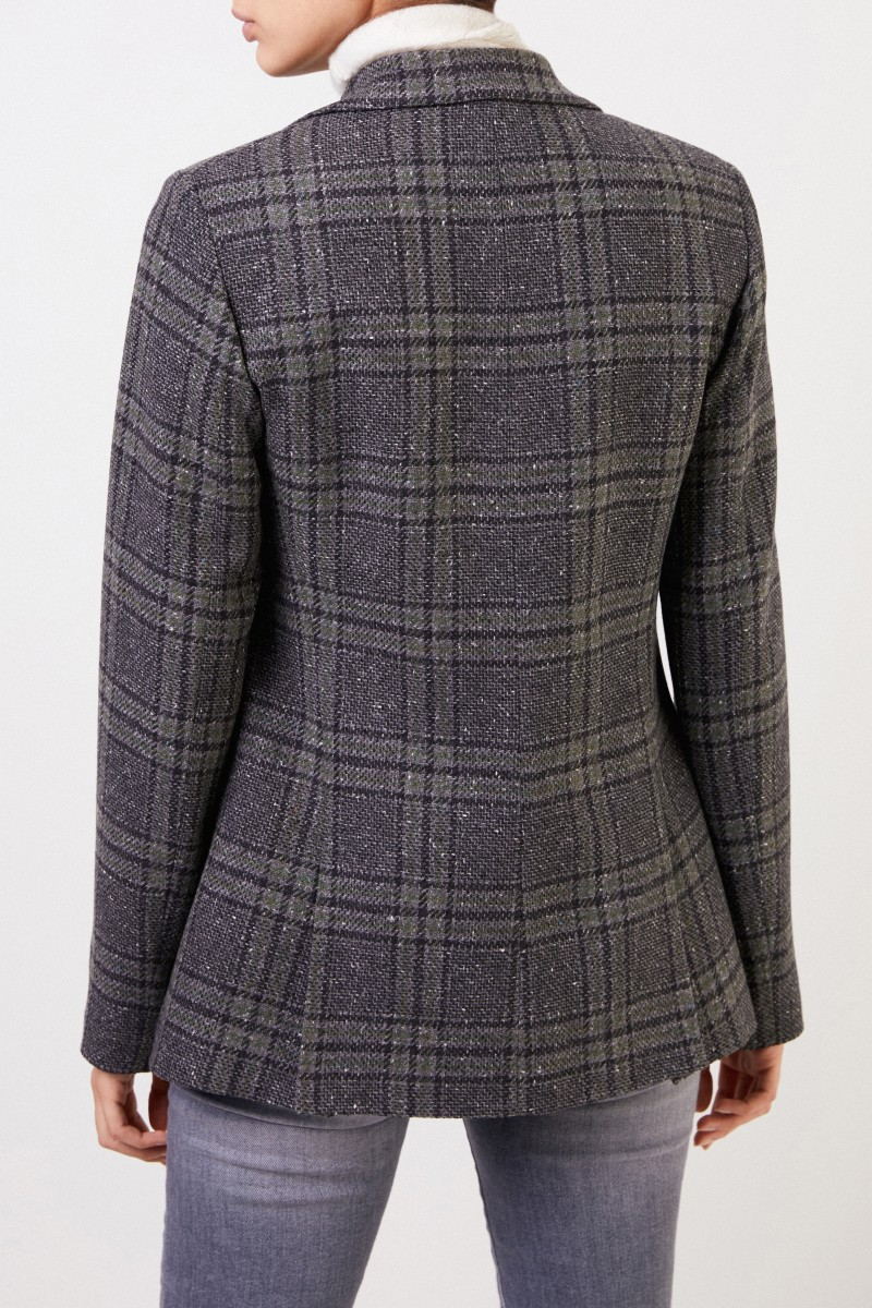 Fabiana Filippi Wool blazer with checked pattern and pearl decoration Grey/Multi