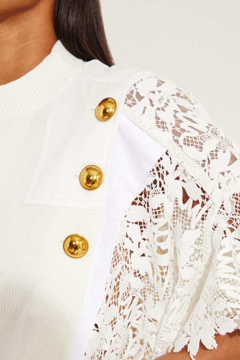 T-Shirt mit floralem Spitzenbesatz Crème