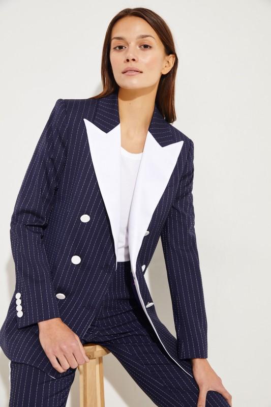 Racil Woll-Blazer 'Casablanca' mit Satinrevers Marineblau/Weiß