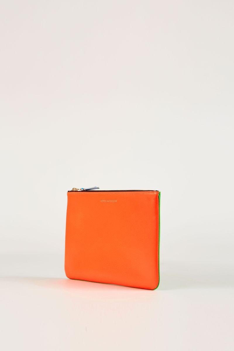 Leder-Clutch zweifarbig Fluo Orange/Grün