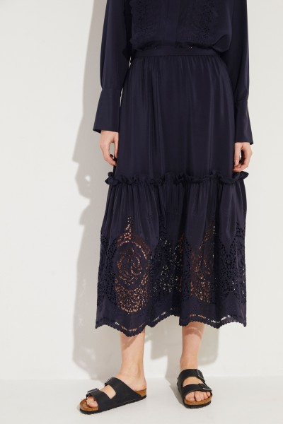 Silk skirt with embroideries Blue