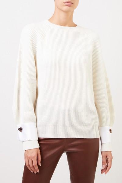 Brunello Cucinelli Cashmere-Pullover mit Manschettendetails Crème