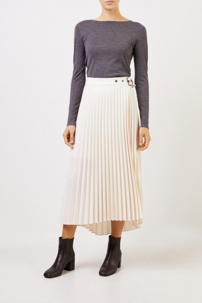 Pleated wrap skirt with belt Beige