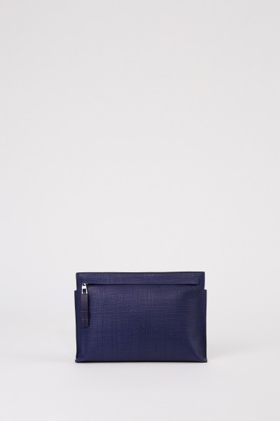 Structured clutch 'T Pouche Linen' Navy Blue