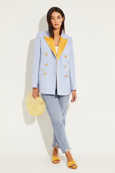Racil Wool blazer 'Harry' with satin details Blue/Yellow