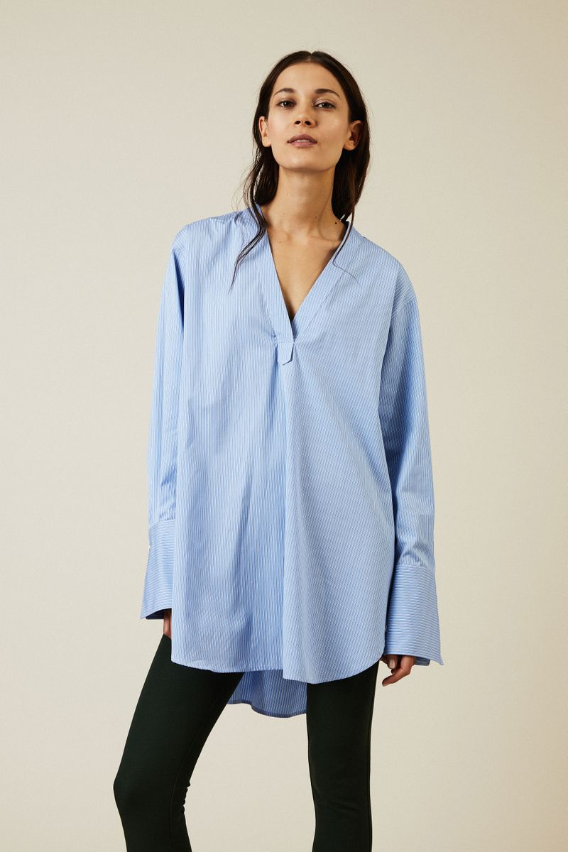 Oversize Baumwoll-Bluse Blau