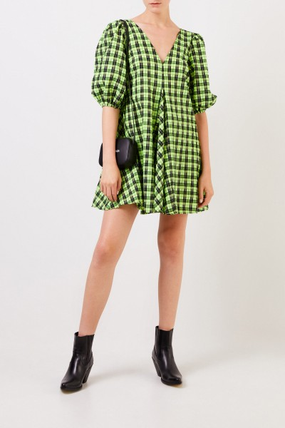 Ganni Kariertes Kleid mit V-Neck Grün/Schwarz