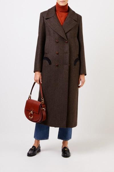 Blazé Milano Long wool coat 'Lady Anne Mocha' Brown/Black