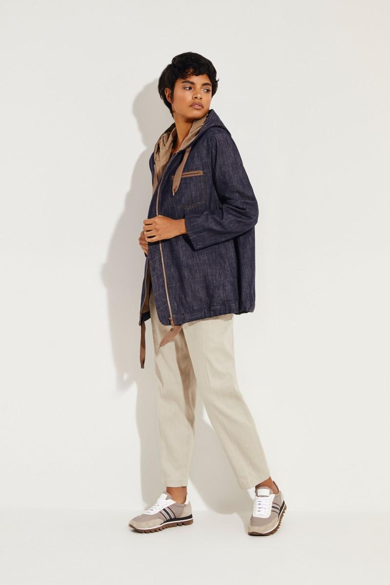 Baumwoll-Jeansjacke mit Perlenverzierung Blau