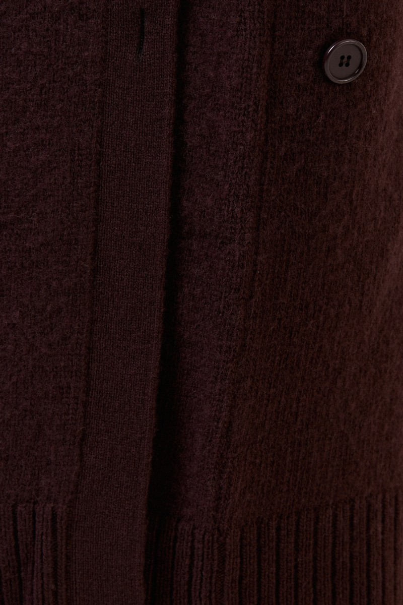 Langer Woll-Cardigan Dunkelbraun