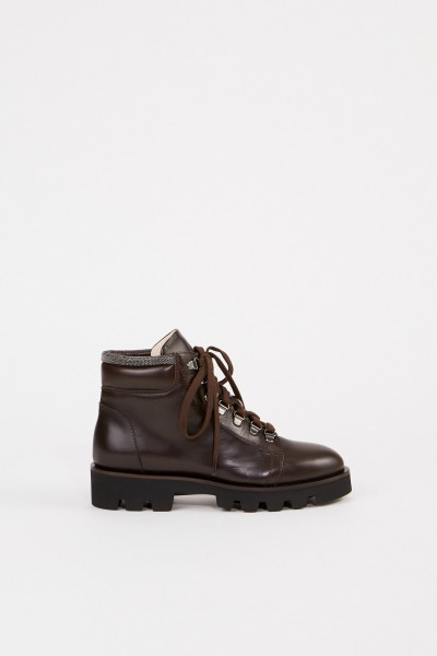 Leather boots with pearls Dark Brown