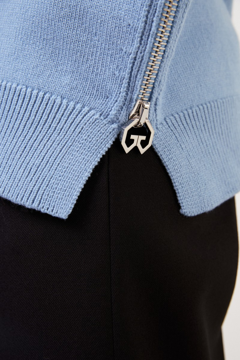 Givenchy Woll-Cashmere-Pullover mit Detail Hellblau