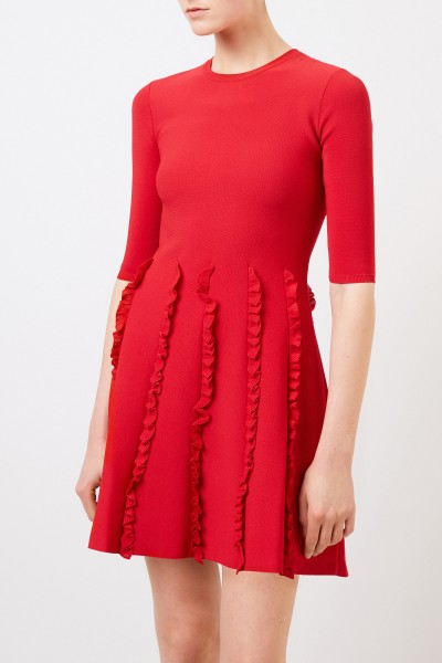 Valentino Strickkleid mit Rüschendetails Rot