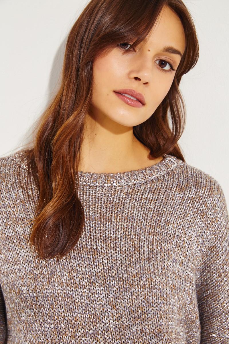 Oversize Pullover Silber/Beige