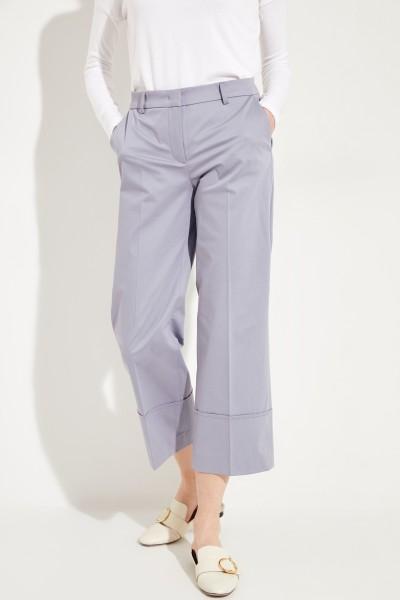 Baumwoll-Hose 'Eden' mit breiten Saumumschlägen Blau